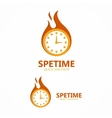 logo clock in a fire vector image vector image