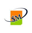 modern logo solution letter s m vector image