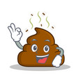 okay poop emoticon character cartoon vector image
