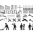 Pictogram people with tools vector image vector image