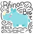 Rhino blue background isolated vector image