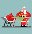 santa eating cookies and drinking milk vector image vector image
