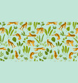 seamless exotic pattern with tigers in the jungle vector image