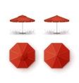 Set of Red Patio Outdoor Beach Cafe Umbrella vector image