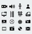 set of sixteen cinema icons vector image vector image