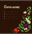 set with vegetables on a dark background green vector image vector image