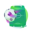Soccer or association football ball and pitch