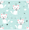 sweet cat and unicorn horn print design seamless vector image vector image