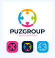 teamwork people four puzzle pieces graphic design vector image vector image