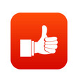 thumb up gesture icon digital red vector image vector image