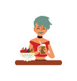 woman enjoying healthy vegetarian food flat vector image vector image