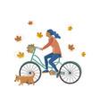 woman on bicycle flat style fall season vector image vector image