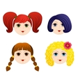 Set of girls faces 2 vector image
