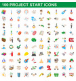 100 project start icons set cartoon style vector image