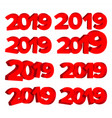 2019 3d sign set red numbers 2019 design vector image vector image