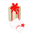 A Gift Box with Red Ribbon and Gift Card vector image vector image