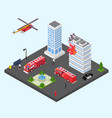 building in fire isometric vector image vector image