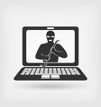 burglar in mask with crowbar hacker concept vector image