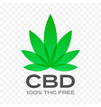 cbd free cannabis leaf icon 100 percent cannabis vector image vector image