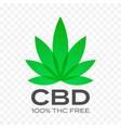 cbd free cannabis leaf icon 100 percent cannabis vector image