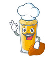 chef lassi mango in a cartoon bottle vector image vector image