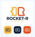 creative rocket in r letter logo design sign vector image