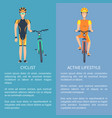 cyclist and active lifestyle set of posters vector image vector image