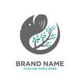 elephant head leaf logo vector image
