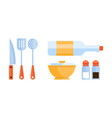 flat set of kitchen utensils skimmer vector image