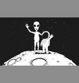 friendship astronaut and alien vector image vector image