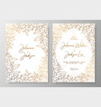 gold invitation with frame leaves gold cards vector image vector image