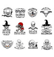 halloween costume party skull icons vector image