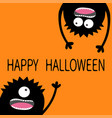 happy halloween two black screaming monster head vector image