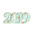 happy new year card blue striped number 2019 vector image vector image