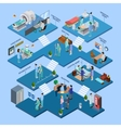 Hospital Structure Isometric Concept vector image