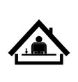 icon work at home remote office for social vector image vector image