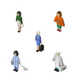 isometric people set of lady pedagogue medic and vector image