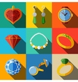 Jewelry colorful flat icons set with long shadow vector image