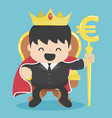 king of businessman with silver euro symbol vector image