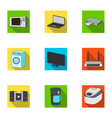 kitchen appliances flat icons in set collection vector image