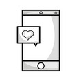 line smartphone technology with heart chat bubble vector image vector image