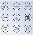 new icons colored line set with banner glove car vector image vector image