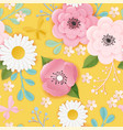 paper cut flowers seamless pattern spring floral vector image vector image