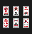 parking is prohibited icon set no parking signs vector image vector image