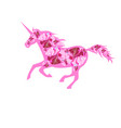pink beautiful running unicorn vector image