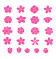 pink flower icon set on white background vector image vector image
