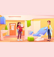 pregnant woman in gynecology doctor office checkup vector image