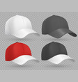 realistic baseball cap black white and red vector image