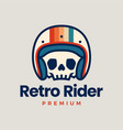 Retro skull helmet rider motorcycle club logo icon