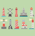 sea and ocean flat lighthouses searchlight vector image vector image